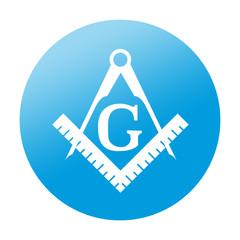 Etiqueta redonda simbolo masoneria