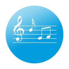 Etiqueta redonda pentagrama musical
