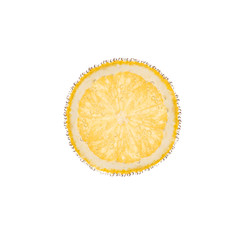 slice of lemon in bubbles isolated on white