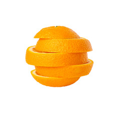 sliced orange isolated on white