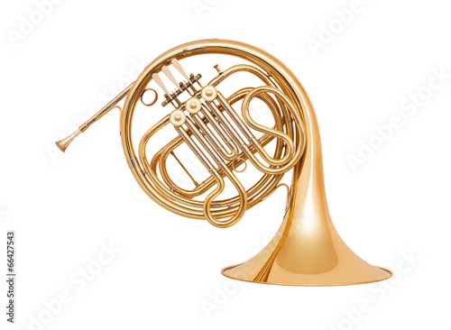 French horn isolated on white background - 66427543