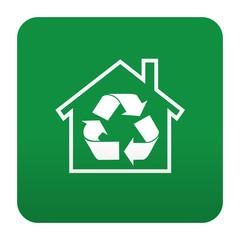 Etiqueta tipo app verde simbolo reciclaje en el hogar