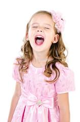 Portrait of screaming cute little girl