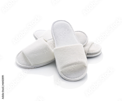 White casual home slippers on white background - 66428191