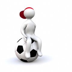 3D Man sitting on soccer ball