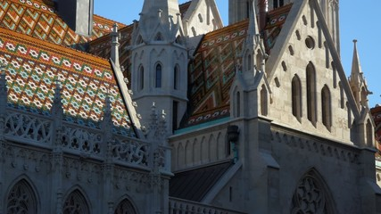 Vertical pan of the steeple of the Matthias Church in Budapest