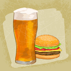Cheesburger with beer grunge background. Vector illustration