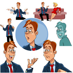 cartoon character man in glasses in a suit with a tie, set