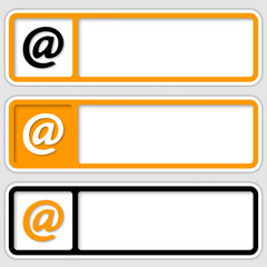 set of three frames for inserting text and email symbol