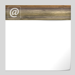vector banner with wood texture and email icon