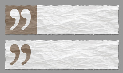 set of two banners with crumpled paper and quotation mark