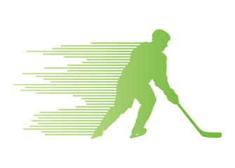 Hockey player silhouette vector background concept