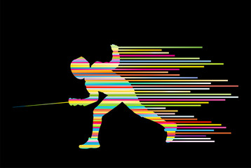 Sword fighters active young man fencing sport silhouettes vector