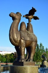 Statue featuring a camel  and an eagle in Astana / Kazakhstan