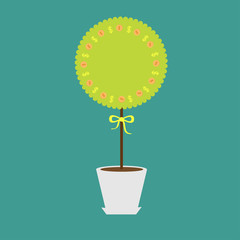 Money tree with coins dollar sign in the pot. Empty  Flat design