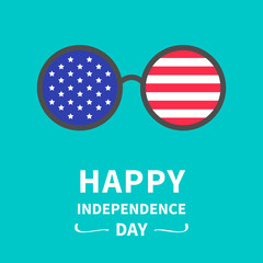 Round glasses stars and strips independence day America 4th July