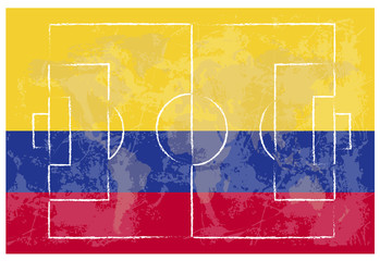 football court on Colombia flag background
