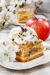 Piece of apple cake with whipped cream