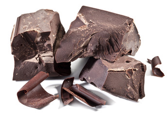 Chocolate blocks isolated on a white background.