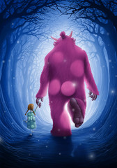 The child and the pink giant