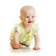 baby girl crawling on floor over white background