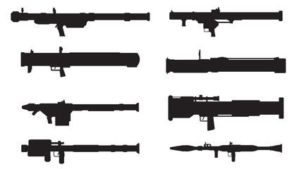 Vector silhouettes of rocket and grenade launchers,bazooka,manpa