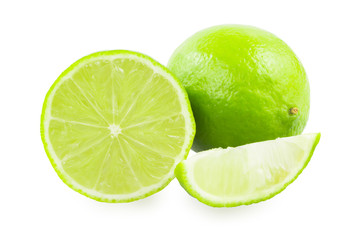 A lime and a slice of lime and a slice of lime