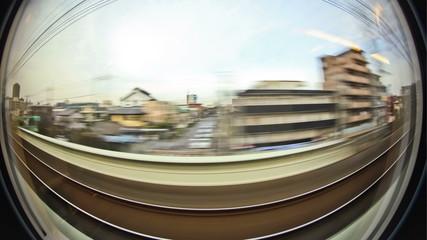 Passenger Train Tokyo Fisheye