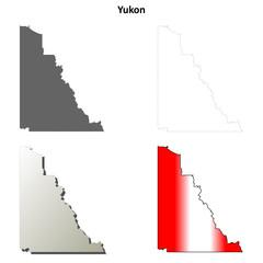 Yukon blank outline map set
