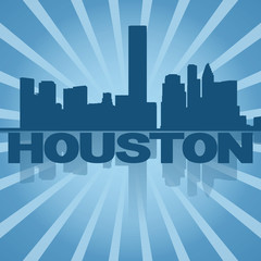 Houston skyline reflected with blue sunburst illustration