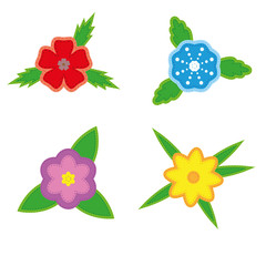 Sticker flowers on a white background