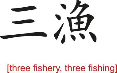 Chinese Sign for three fishery, three fishing