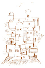 Old Town, Middle East, Ancient, Stylization, Illustration