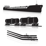 oil transportation: marine tanker, rail tanker, pipelines