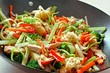 Mixed stir fry vegetables with chicken in a wok - 66436373