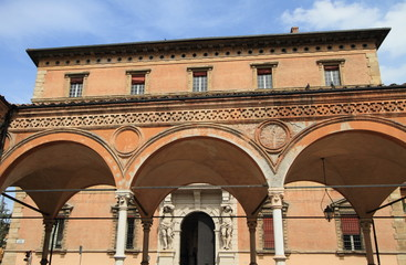 medieval architecture of market square of Bologna