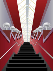 red interior corridor with black stairs and lamps, vector