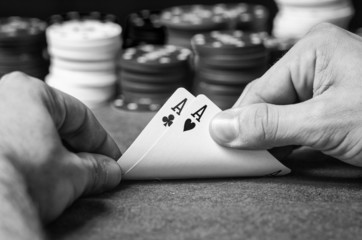 Double ace in poker in black and white
