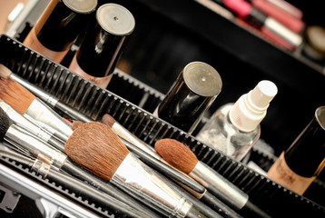 Set of make-up brushes in a black case