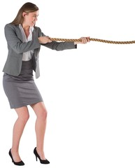 Businesswoman pulling a rope