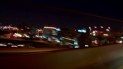 Portland Highway Driving Night Angle View