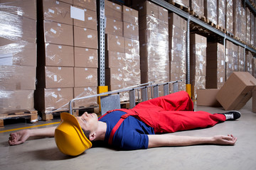 Storekeeper after accident on a ladder