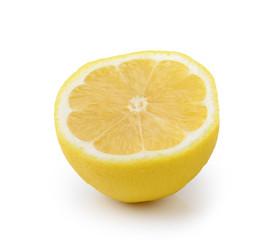 Slice of lemon fruit isolated on white background