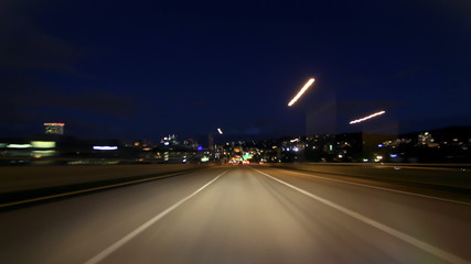 Portland Highway Driving Time Lapse Night