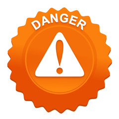 danger sur bouton web denté orange