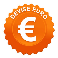 devise euro sur bouton web denté orange