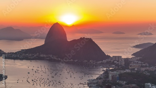 Rio Cityscape Time Lapse Sunrise Zoom