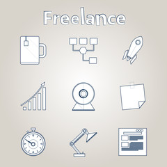 Sketch vector icons for freelance and business
