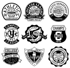 Old style sporting badges in black and white