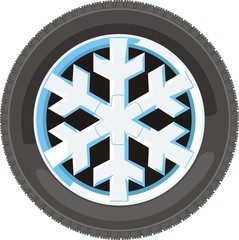 car wheel with disc in snow flakes design
